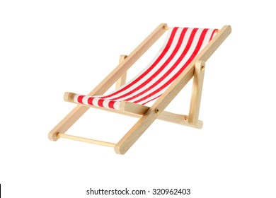 Isolated objects: wooden red striped deck chair, isolated on white background