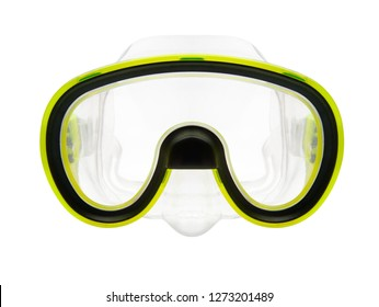 Isolated objects: yellow silicone snorkeling or diving mask on white background