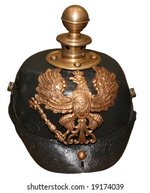 isolated obsolete vintage german helmet of ww1 on white background