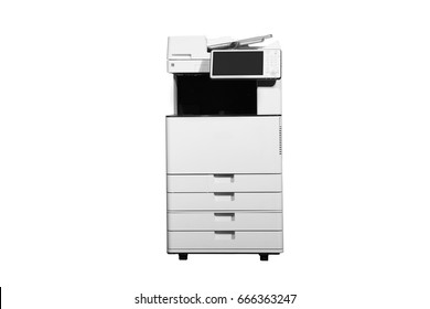 isolated office multi function printer on white background