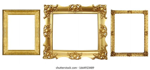 isolated old antique picture frame
