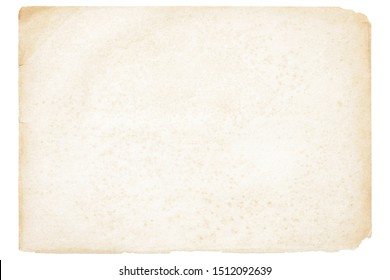 Isolated old brown worn out ripped yellow background paper texture with stain