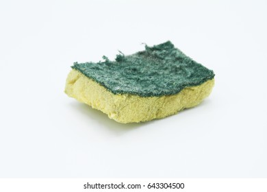 isolated old dirty dish sponge.