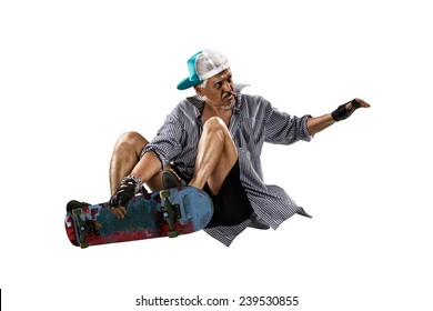 Isolated old man skater on the white background