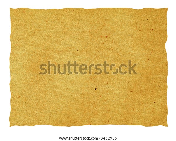 Isolated old paper sheet which has turned yellow from time. The picture is convenient for drawing on it of the text or images.