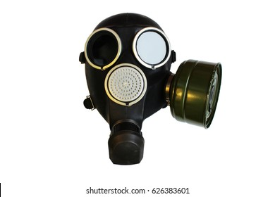 Isolated old russian gas mask on white background