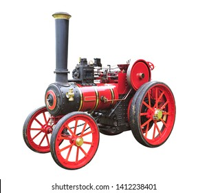 Isolated Old steam traction engine
