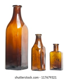 Isolated old style bottles in different shape and colors