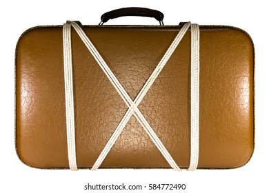 44bcb27d72 Isolated Old Brown Leather Suitcase Plaid Stock Photo (Edit Now ...