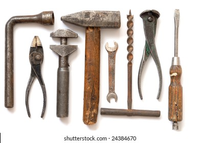 Isolated old tools set