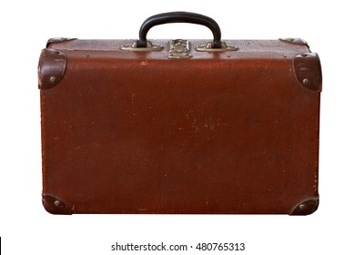 Isolated Old Vintage Dusty Brown Suitcase on a white background