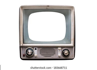 isolated old vintage television with empty screen