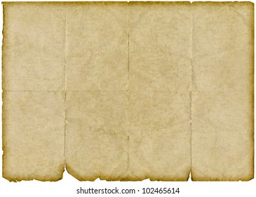Isolated old vintage yellowing folded paper with torn edges.