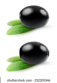 Isolated olive. Pitted and whole black olives over white background, with clipping path