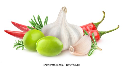 Isolated olives and spices. Two green olives, garlic, rosemary and chili peppers (infused olive oil ingredients) isolated on white background with clipping path