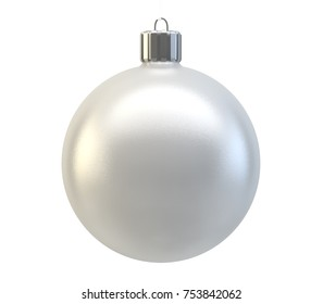 isolated on white 3d rendering grey christmas ball