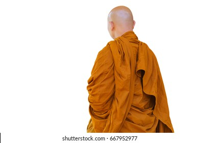 Isolated on white background of buddhist monk in the thailand, Image clipping path.