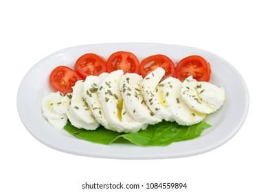 Isolated on white background Caprese salad