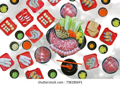 isolated on white background with clipping path - assort many of Suki yaki shabu set on hot pot, pork, beef, mussel, squid, egg, shrimp, fish ball view from top