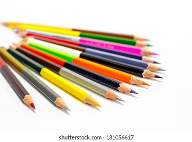 Isolated on white background color pencils
