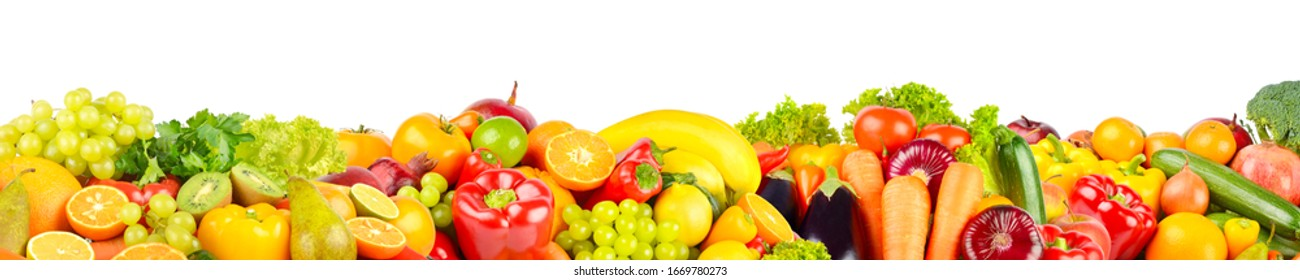 Isolated on white background fruits and vegetables. Copy space