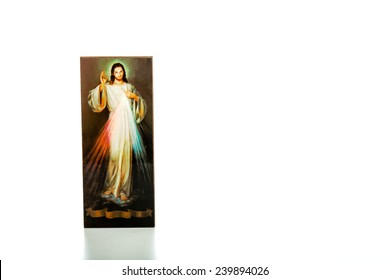 Isolated on white background, an image of the Merciful Jesus with blank ribbon at the bottom without writings