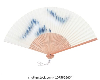 Isolated on white background of Japanese bamboo folding fan that is very old but still in good condtion. Good for house decoration. with clipping path