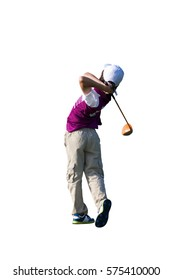 ISOLATED ON WHITE BACKGROUND / PERFECT GOLF SWING BY A 9 YEARS OLD BOY PLAYING IN JUNIOR LEAGUE GOLF / TEE OFF SHOT WITH DRIVER