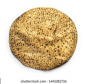 Isolated on white background round hand made passover matzah