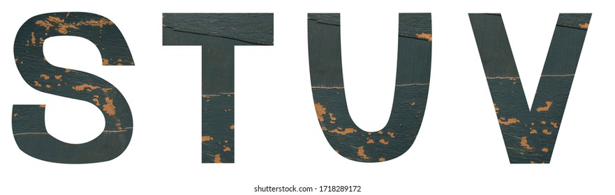 Isolated on white background set of Font English or Latin Letters STUV made of old peeling paint wooden board with cracks