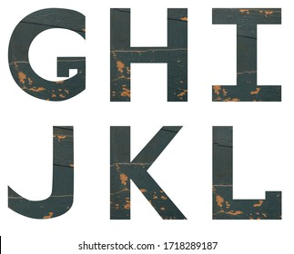 Isolated on white background set of Font English or Latin Letters GHIJKL made of old peeling paint wooden board with cracks