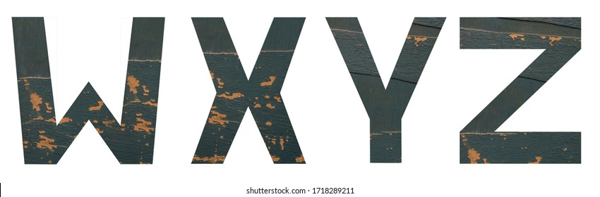 Isolated on white background set of Font English or Latin Letters WXYZ made of old peeling paint wooden board with cracks