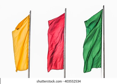Isolated on white background. Three flag yellow red green