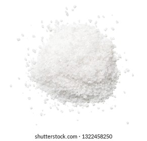 Salt isolated on white background. Top view