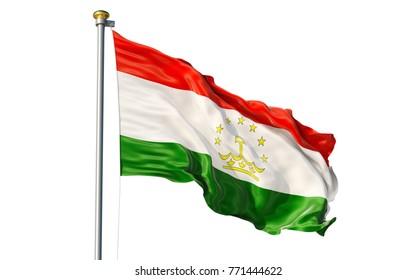 Isolated on white background waving Tajikistan flag