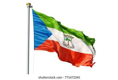 Isolated on white background waving Equatorial Guinea flag
