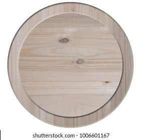 isolated on white background wooden circle with sides