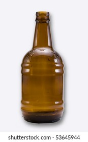 isolated on white brown beer bottle