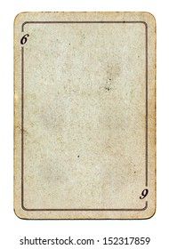 isolated on white empty old grunge playing card paper with line and number 6