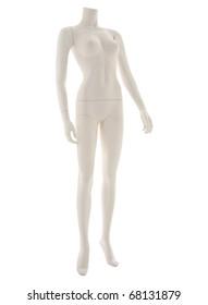 Isolated on white, generic female fashion mannequin.