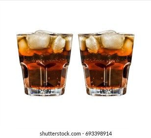 Isolated on white glass of cola with ice or rum with ice