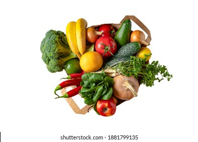 isolated on white grocery Paper bag with vegetables and fruits