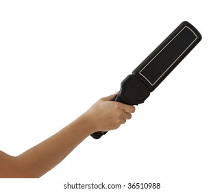 Isolated on white hand with black body scanner or metal detector with clipping path included