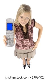 isolated on white headshot of young blonde woman with mobile phone
