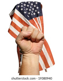 """isolated on white, a human hand gives the """"Power"""" fist sign in front of an american flag draped over a wooden chair"""