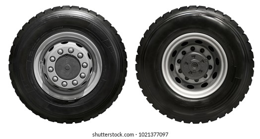Isolated on white new front rear truck wheels on hub with black shine tires. New clean commercial transport truck mud all terrain wheels for front rear axles. High resolution commercial truck wheels