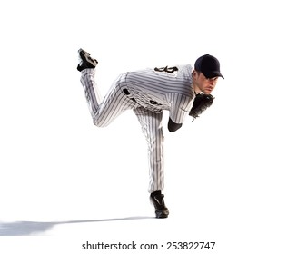 isolated on white professional baseball player in action