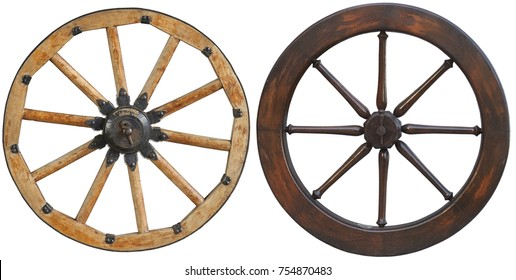 Isolated on white set classic old antique wooden wagon horse carriage wheel rim spoke with black metal brackets and rivets. Traditional old iron cannon wheel. Wheel rim spokes. Wooden carriage wheel