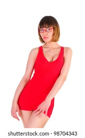 isolated on white. sexy woman in short red dress. slim figure. portrait in glasses. studio photo