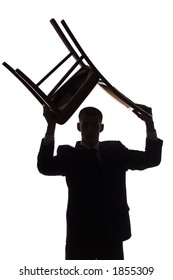 isolated on white silhouette of man with chair over his head